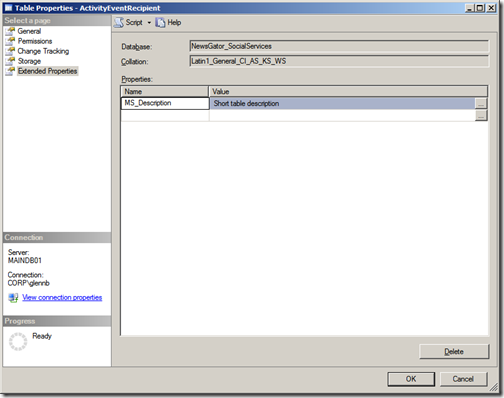 Fun with Extended Properties in SQL Server 2008