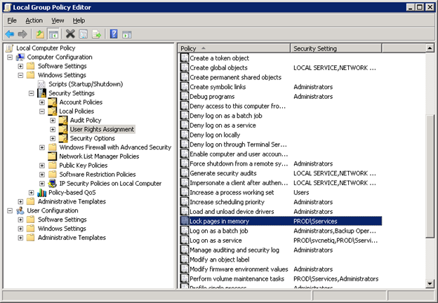 """SQL Server and the """"Lock pages in memory"""" Right in Windows"""