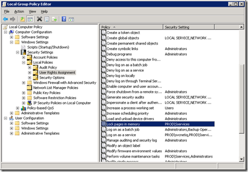 "SQL Server and the ""Lock pages in memory"" Right in Windows Server"